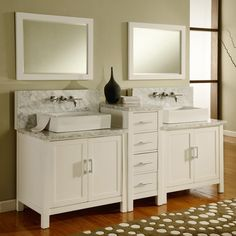 Spruce up your bathroom decor with this unique double bathroom vanity featuring a contemporary design and beautiful marble top. Complete with two gorgeous vessel sinks and a center tower of drawers, this piece will make your bath feel like a spa.