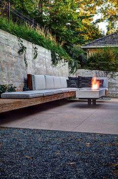 Entryway Bench Decor Ideas Mid-Century Modern - modern - patio - denver - Designs by Sundown.Entryway Bench Decor Ideas Mid-Century Modern - modern - patio - denver - Designs by Sundown Fire Pit Backyard, Backyard Patio, Backyard Landscaping, Landscaping Ideas, Patio Ideas, Backyard Ideas, Concrete Backyard, Porch Garden, Outdoor Fire