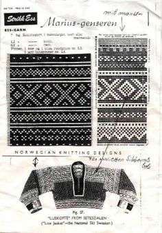 Many hundred years old Setesdals Traditional patterns, from Sibern's book from They were always in black, grey and white, as was the tradition for all Norwegian knitwear of this kind, using the natural colors of the sheepwool. Knitting Charts, Knitting Stitches, Knitting Designs, Hand Knitting, Knitting Patterns, Mittens Pattern, Knit Mittens, Motif Fair Isle, Norwegian Knitting
