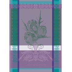 Torchon fantaisie Garnier-Thiebaut - Modèle : Artichaut - Torchon en coton - Coloris : bleu et violet