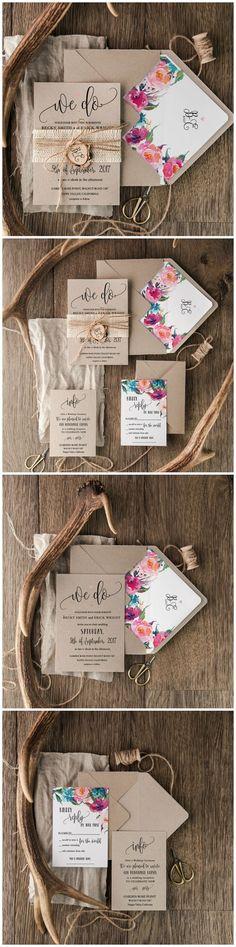 Boho Floral Eco Wedding Invitations - We Do ! Calligraphy printing #dpf #boho #floral #flowers #eco #ecofriendly #weddinginvitations