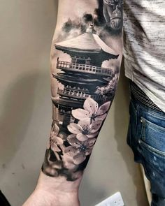 Japanese Tattoos 19827 16 Coolest Forearm Tattoos For Men Japanese Forearm Tattoo, Japanese Temple Tattoo, Cool Forearm Tattoos, Japanese Tattoo Art, Japanese Tattoo Designs, Japanese Sleeve Tattoos, Leg Tattoos, Body Art Tattoos, Tattoos For Guys