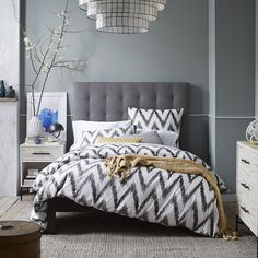 Tall Grid Tufted Headboard from West Elm. Is it too high? Otherwise I adore it.