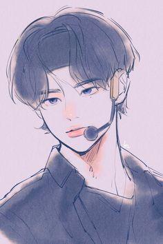 Kpop Drawings, Cute Drawings, Drawing Sketches, Kids Wallpaper, Fanarts Anime, Kpop Fanart, Boy Art, Aesthetic Art, Cute Art