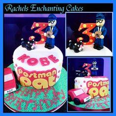 Postman Pat themed cake with edible Sugar Models !