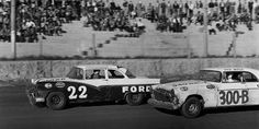In his first NASCAR start, Ralph Earnhardt races against 1956 season champion and 2013 Hall of Fame inductee Buck Baker at Hickory. They finished second and third, respectively. (Smyle Media)