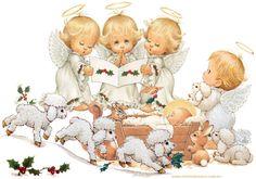 Pesebre Adorando al Niño Varios angelitos