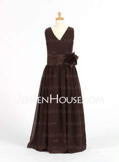 Junior Bridesmaid Dresses - $92.59 - A-Line/Princess V-neck Floor-Length Chiffon Charmeuse Junior Bridesmaid Dresses With Ruffle Sash (009022482) http://jenjenhouse.com/A-Line-Princess-V-Neck-Floor-Length-Chiffon-Charmeuse-Junior-Bridesmaid-Dresses-With-Ruffle-Sash-009022482-g22482