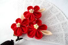 Red and Black Kanzashi Flower Hair Clip with by ScarlettandMaria