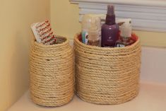 Add some texture to your bathroom with these cute little counter organizers. Grab some containers and your hot glue gun for this one!