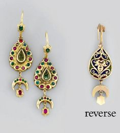 Morocco ~ Fez | 'Maticha' pair of earrings; gold, emerald and ruby inset with enamel back | ca. late 18th century | 3'750£ ~ sold (Oct '07)