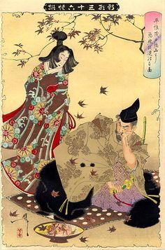 『新形三十六怪撰』平惟茂戸隠山に悪鬼を退治す図 月岡芳年 The Demon of Mount Togakushi, From the 36 Ghosts series, TSUKIOKA Yoshitoshi, Aug. 1890 (紅葉狩)