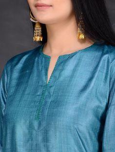 Buy Teal Green Tussar Kurta by Jaypore Silk Women Kurtas Online at Jaypore.com Silk Kurti Designs, Salwar Neck Designs, Neck Designs For Suits, Saree Blouse Neck Designs, Churidar Designs, Kurta Neck Design, Neckline Designs, Dress Neck Designs, Kurta Designs Women