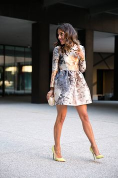 Multi Floral Long Sleeve Fit And Flare Mini Dress