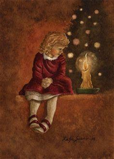 Katja Saario Christmas Tale, Christmas Illustration, Illustrators, Fairy Tales, Little Girls, Candle, Printables, Painting, Artists