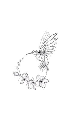 Hummingbird circular design – # tattoo … - Top Of The World Pencil Art Drawings, Art Drawings Sketches, Bird Drawings, Tattoo Drawings, Flower Sketches, Tattoo Sketches, Mini Tattoos, Cute Tattoos, Body Art Tattoos