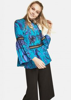 Floral Printed Sleeve Blouse With Trim Detail