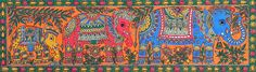 Decorative Elephant Family (Madhubani Folk Art on Paper - Unframed))