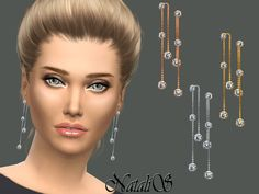 Drop lariat earrings in shine metal with crystals.  Found in TSR Category 'Sims 4 Female Earrings'