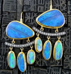 Earrings | ARA 24K Collection.  Opals, diamonds, sterling silver and 24k gold