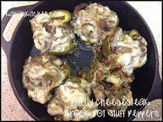 Stock up on bell peppers from the Fresh at Five market to make these Philly Cheesesteak Crock Pot Stuffed Peppers. Slow Cooker Recipes, Low Carb Recipes, Crockpot Recipes, Cooking Recipes, Healthy Recipes, Crockpot Dishes, Pork Dishes, Healthy Food, Cheesesteak Stuffed Peppers
