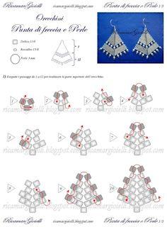 Схемы: Серьги Punta di freccia e Perle / Orecchini Punta di freccia e Perle