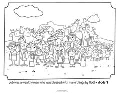 Kids Coloring Page From Whats In The Bible Featuring Job And