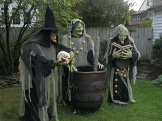 witches: bodies made from pvc frame. put the costume hands on and mask. then drape with costumes