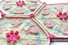 MyPicot | Free crochet patterns. Crochet Hexagon Heart motif for blanket