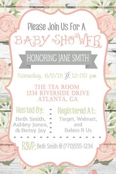 66 Ideas For Baby Shower Invitaciones Originales Digitales Baby Shower Niño, Baby Shower Vintage, Shabby Chic Baby Shower, Boy Baby Shower Themes, Floral Baby Shower, Baby Shower Invites For Girl, Baby Shower Cards, Girl Shower, Invitaciones Shabby Chic