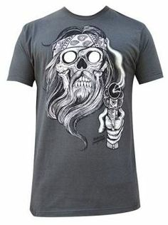Men's Outlaw Tee by Rob Dringenberg Skull Beard Bandana Gun Mens Cotton T Shirts, Mens Tees, Saints Shirts, Tattoo Clothing, Shirt Maker, Jeans And Sneakers, Shirts For Girls, Cool T Shirts, Shirt Designs