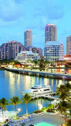Skyline and waterfront in Miami, Florida.