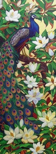 Peacocks in Magnolia Tree (Annie Schoemaker)