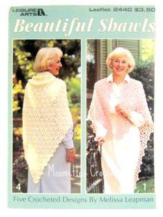 Vintage Crochet Pattern Book Beautiful Shawls Crocheted Shawl Designs Daisies Ruffled Picots Woven Blocks Chevrons Leisure Arts 2440