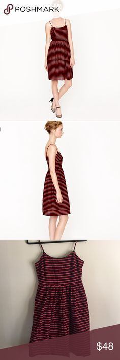 One Day SaleJ. Crew Derby Dress Red and black striped Derby dress. Spaghetti straps. Falls at knee or a little above. 55% linen and 45% cotton. Lining is 100% cotton. Has pockets. Price firm. Ends Tuesday night J. Crew Dresses Midi
