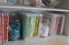 Organizing fabric and ribbons -- for when I have a craft room all it's own!