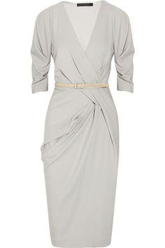If I were a rich girl, it'd be wall to wall Donna Karan.   Donna Karan Belted stretch wool-blend dress