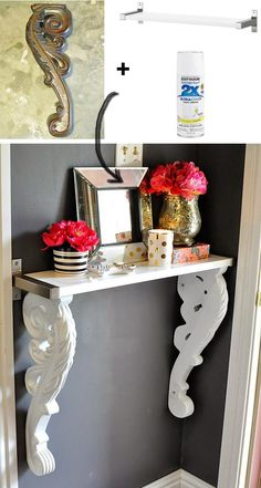 Easy DIY Corbel Foyer Table From IKEA Wall Shelf