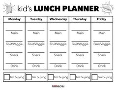 Your Personal Lunch Planner | Parents | Scholastic.com