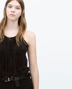 T-SHIRT WITH FRINGES-T-shirts-TRF | ZARA United States
