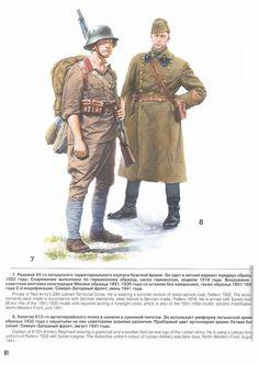 ARMATA ROSSA - 7-Soldado letón del Ejército Rojo. Utliza un uniforme veraniego, una guerrera modelo de 1932, casco de acero de fabricación alemana, modelo de 1918. Armado con un fusil soviético model de 1891/1930 con bayoneta. Julio de 1941   8-Capitán del 613 Regimiento de Artillería de que llevaba un abrigo y una gorra de lana de servicio de campo del Ejército Letón. Él está usando un uniforme letón del Plan de 1932 con la insignia soviética. El uniforme de color distintivo de Artillería…