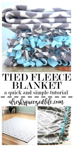 Need a cozy blanket? Try this no sew fleece blanket with tied edging. DIY your way to warmth with this simple and quick tutorial. TIED FLEECE BLANKET: A TUTORIAL baby blanket baby clothes baby projects baby stuff baby toys Diy Craft Projects, Fleece Projects, Fun Diy Crafts, Craft Ideas, No Sew Projects, Diy Ideas, Adult Crafts, Activity Ideas, Baby Crafts
