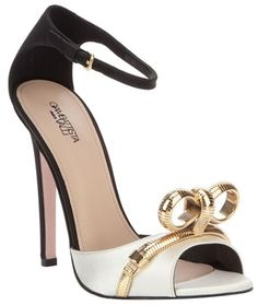 Giambattista Valli Black Monochrome Sandal with Gold Details #Shoes #Heels