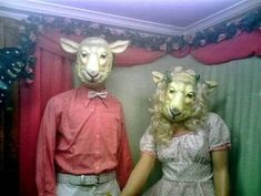 Animal Masks, Animal Heads, Creepy Pictures, Vintage Halloween, Masquerade, Cute Couples, Sheep, Weird, Horror