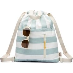 Sky Blue Stripe Canvas Drawstring Backpack. Lined and zipper pocket with Ultrasuede leather pull. Adjustable straps.