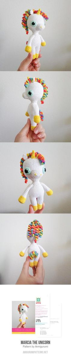 Marcia The Unicorn Amigurumi Pattern Diy Crochet Amigurumi, Knit Or Crochet, Crochet Gifts, Amigurumi Patterns, Crochet Dolls, Crochet Patterns, Amigurumi Toys, Half Double Crochet, Single Crochet