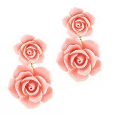 Pendientes Dublos de resina flores rosa