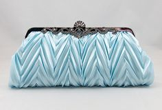Light Blue Satin Wedding Clutch