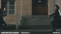 Rose and Lissa's days of living on the lamb are over as Dimitri has arrived to bring them back to St. Vlad's... Get more Vampire Academy GIFS at va-movie.com