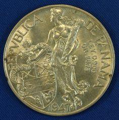 1947 Republica De Panama 1 One Balboa Silver Coin